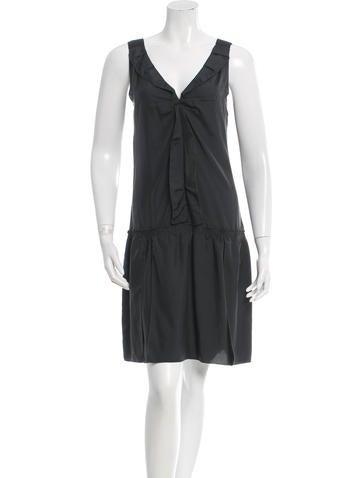 Miu Miu Silk Ruffled Dress None