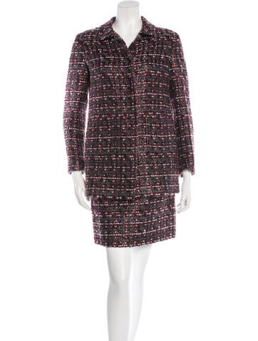 Miu Miu Bouclé Knit Skirt Suit None