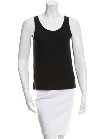 Miu Miu Sleeveless Silk-Back Top None