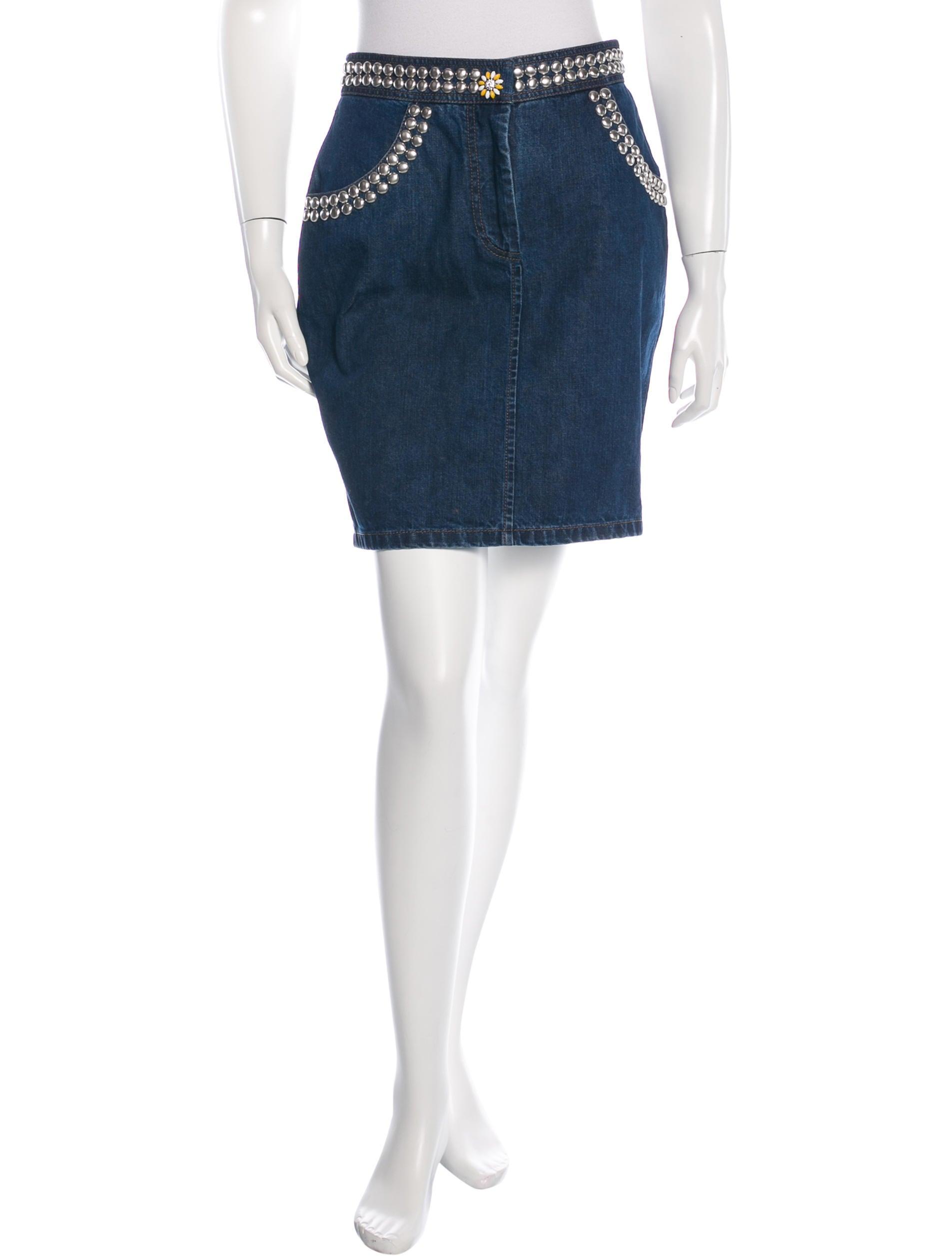miu miu embellished denim skirt clothing miu41737