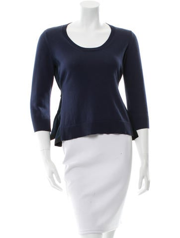 Miu Miu Silk-Accented Sweater None