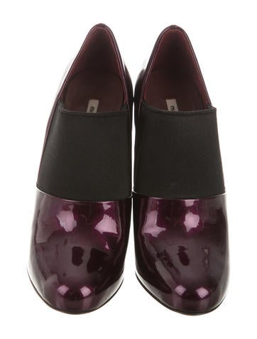 Patent Leather Round-Toe Ankle Boots