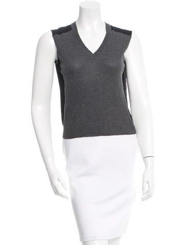Miu Miu Silk-Paneled Knit Top None