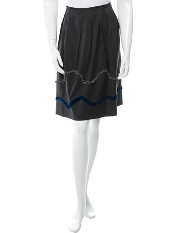 Miu Miu Pleated Appliqué Skirt None