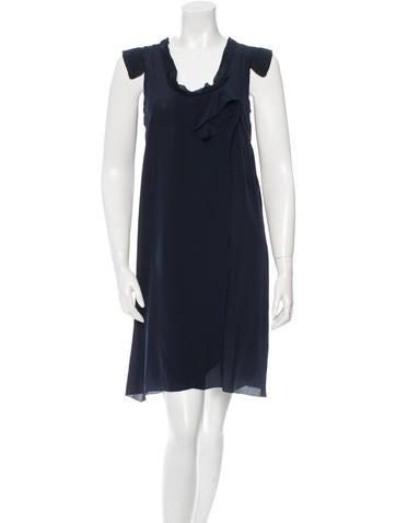 Miu Miu Ruffled Silk Dress None