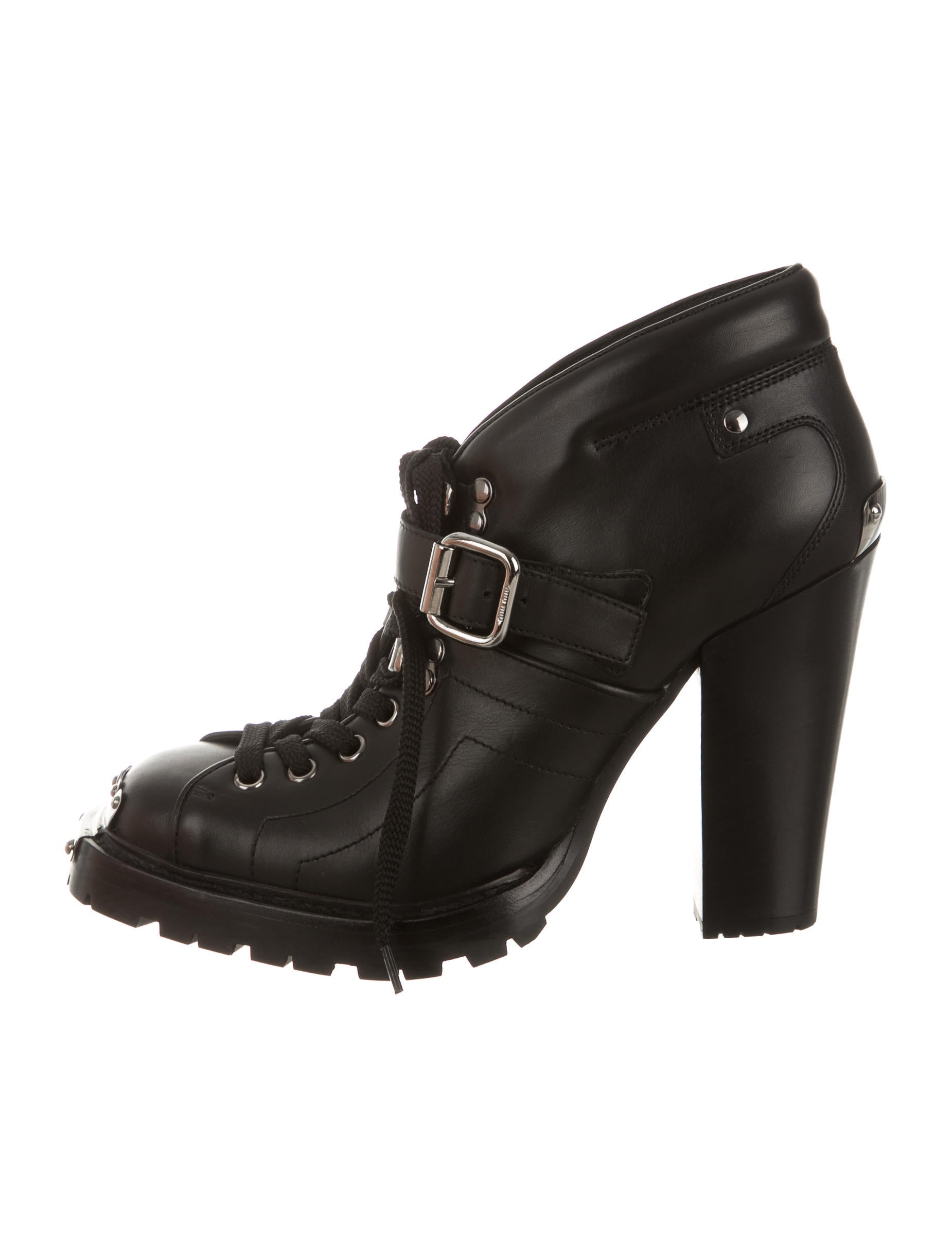 miu miu leather lace up ankle boots w tags shoes