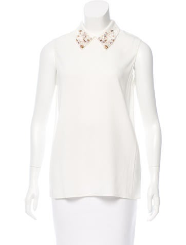 Miu Miu Embellished-Collar Top None