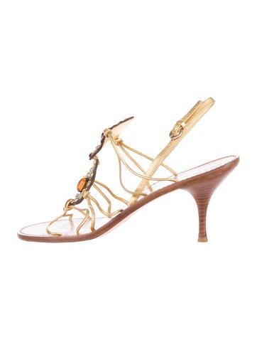 Miu Miu Leather Embellished Sandals None