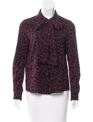Miu Miu Leopard Print Button-Up Top None