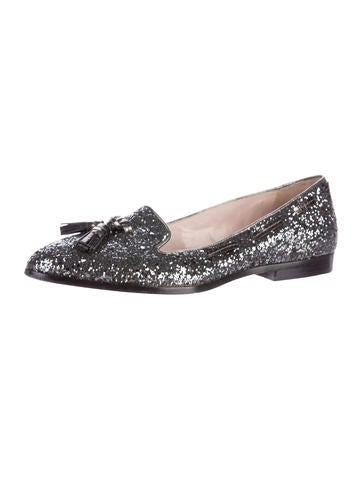 Tassel-Accented Glitter Loafers