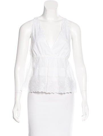 Miu Miu Sleeveless Eyelet-Accented Top None