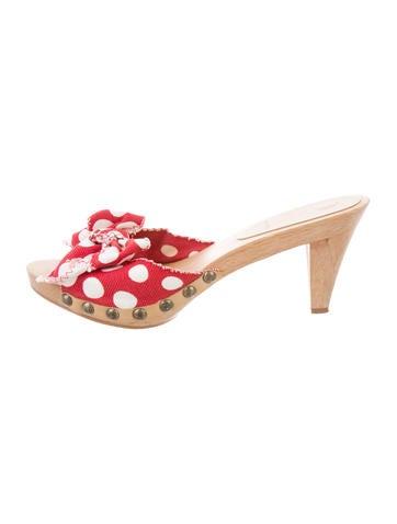Miu Miu Polka Dot Slide Sandals