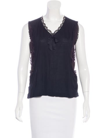 Miu Miu Lace-Trimmed Sleeveless Top None