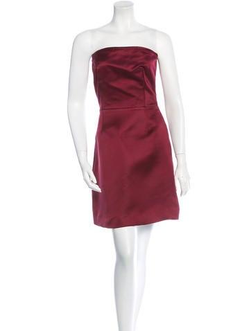 Miu Miu Strapless Silk Mini Dress None