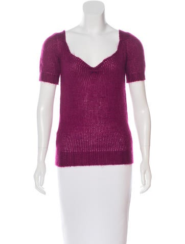 Miu Miu Mohair-Blend Short Sleeve Top None