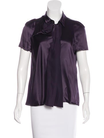 Miu Miu Satin Button-Up Top None