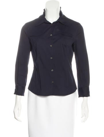 Miu Miu Collared Button-Up Top None