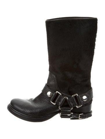 Miu Miu Ponyhair Moto Ankle Boots