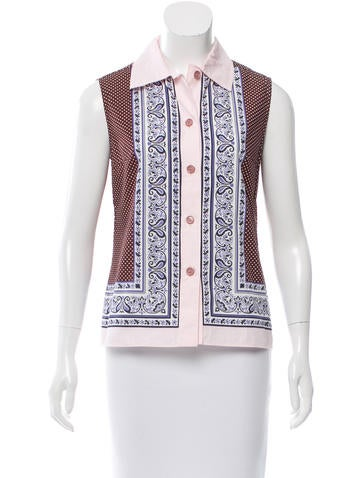 Miu Miu Printed Button-Up Top None