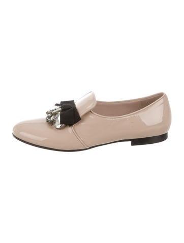 Miu Miu Bow and Jewel Embellished Loafers
