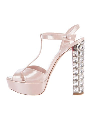 Miu Miu Patent Leather Jeweled Sandals