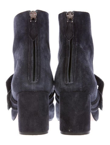 Suede Buckle-Accented Ankle Boots