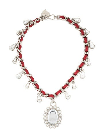 Miu Miu Crystal & Leather Pendant Necklace