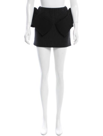 Miu Miu Wool Bow-Accented Mini Skirt None