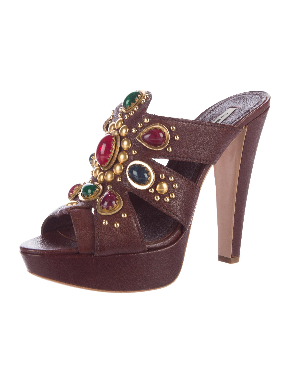 miu miu embellished platform sandals shoes miu46345