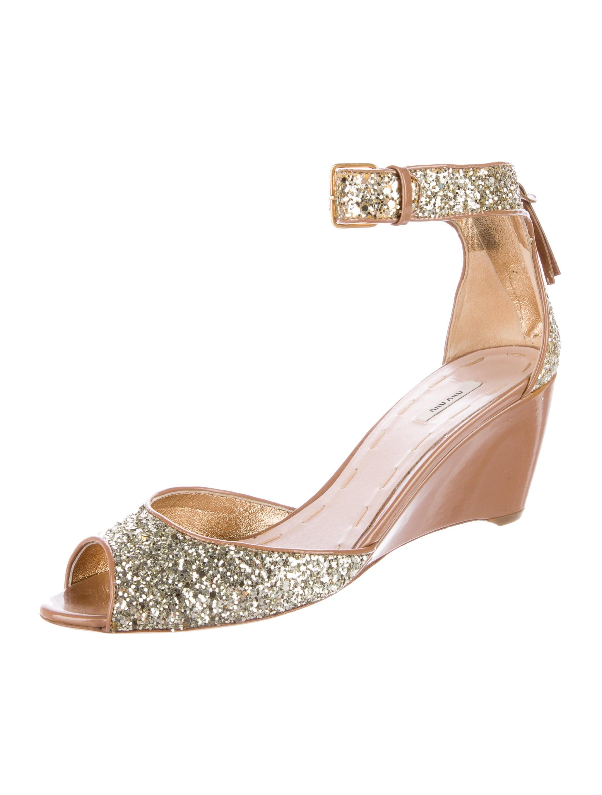 miu miu glitter wedge sandals shoes miu46348 the