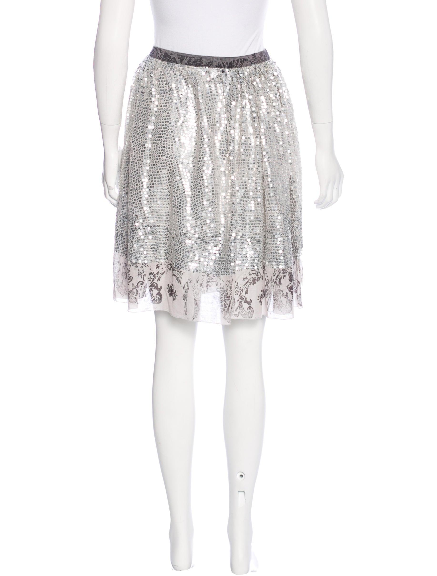 miu miu sequined knee length skirt clothing miu46413