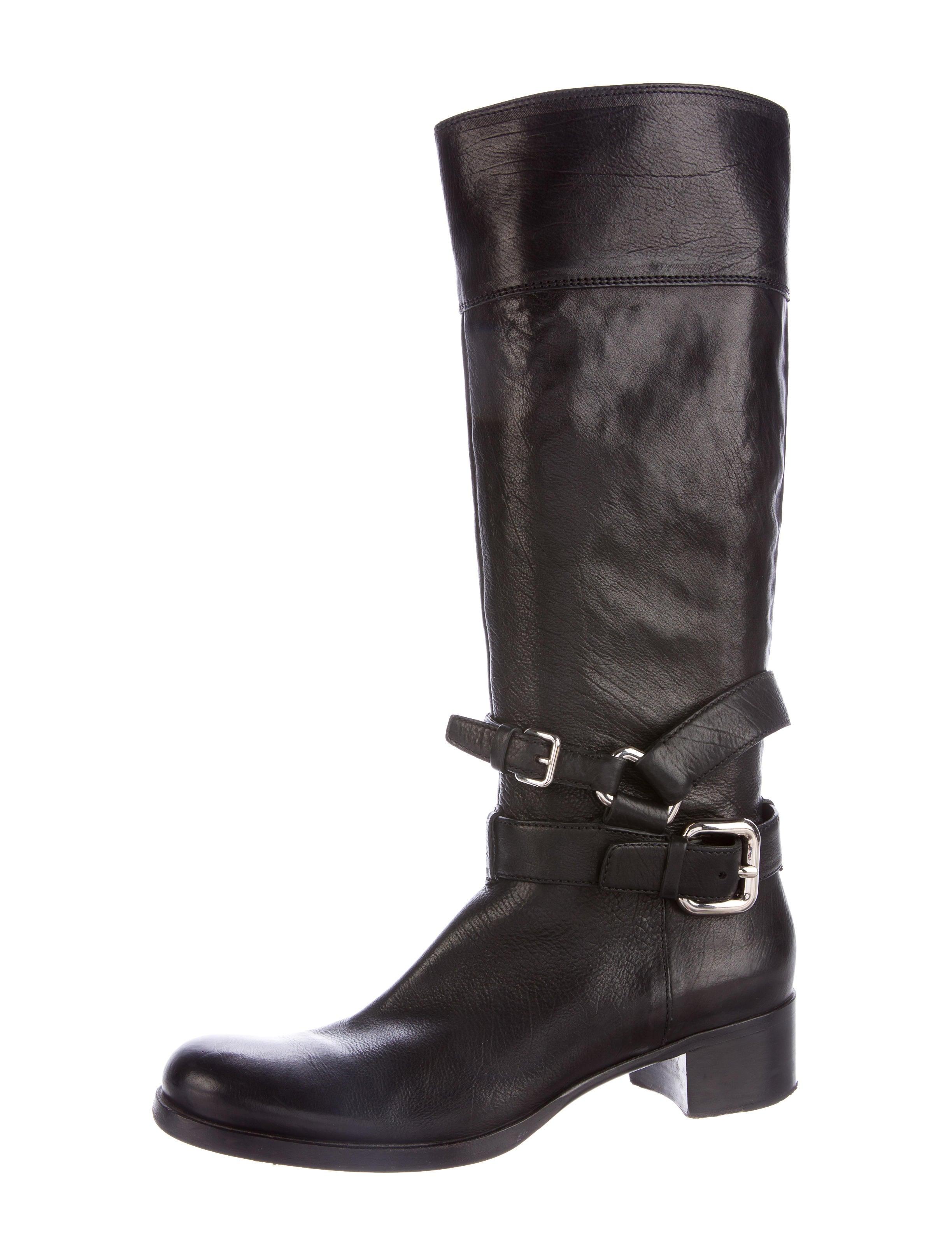 miu miu buckle accented knee high boots shoes miu46572