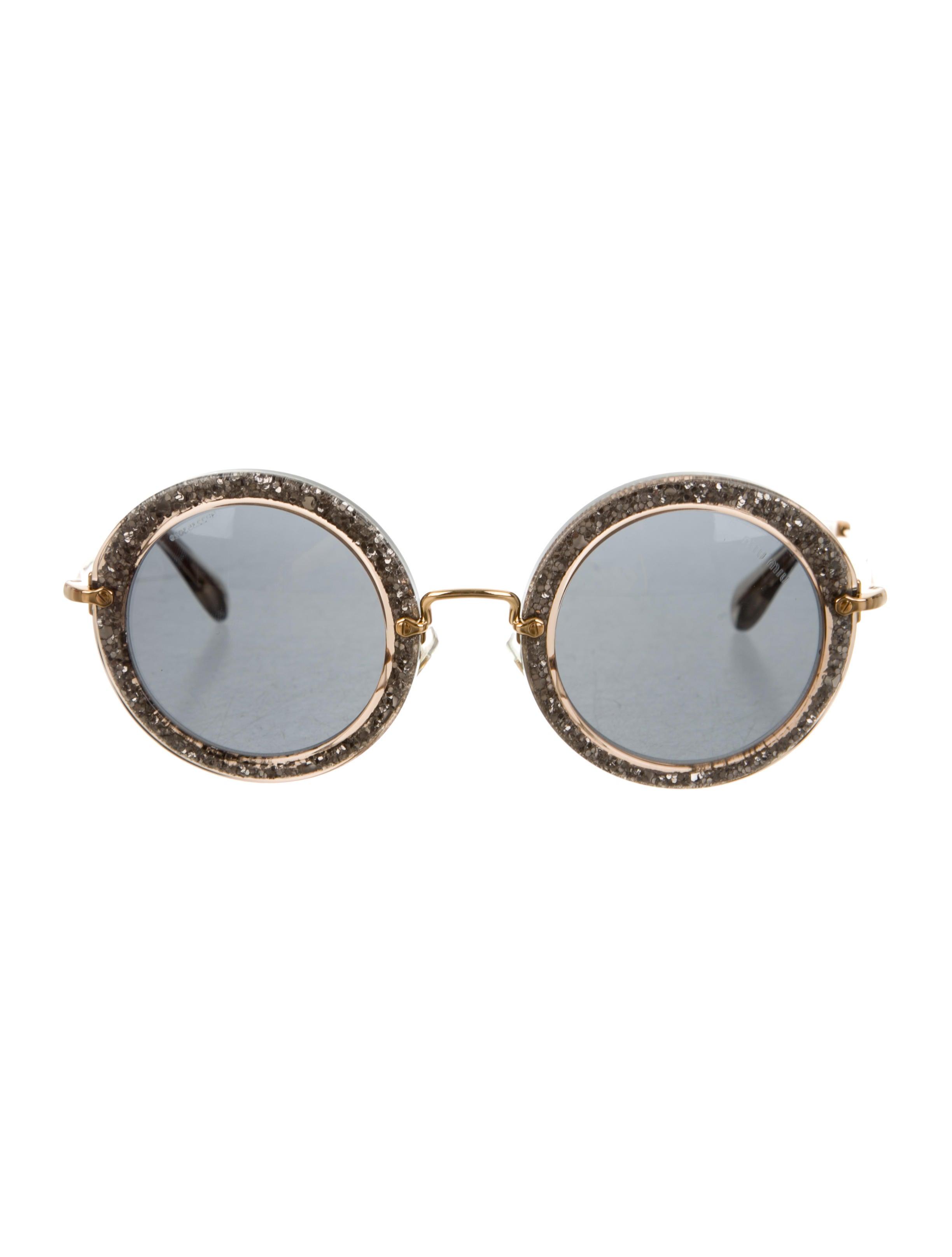 0326386222b Miu Miu Sunglasses Round Glitter