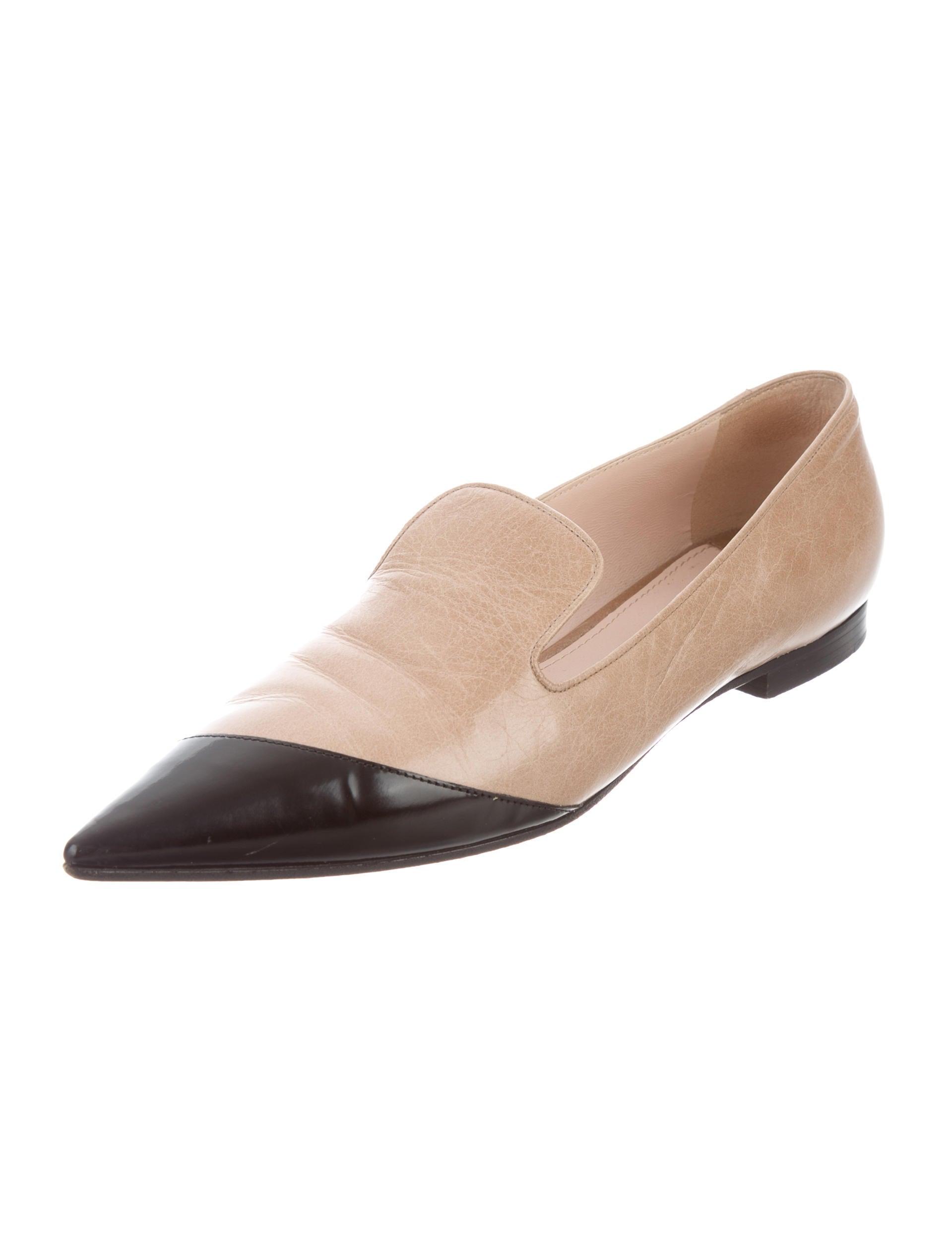 miu miu leather pointed toe flats shoes miu46603 the