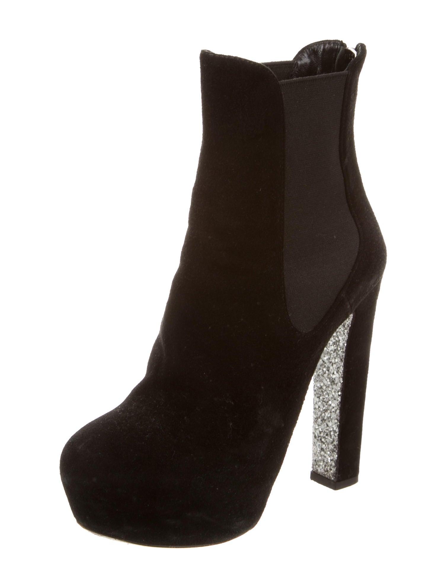 miu miu suede glitter ankle boots shoes miu47233 the