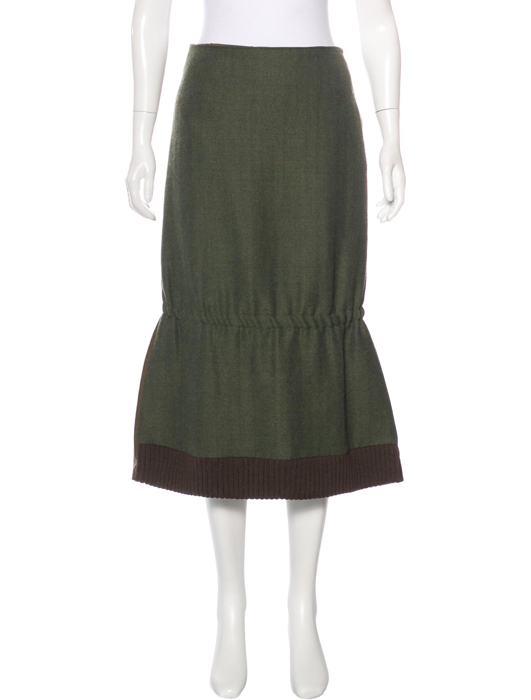 miu miu wool paneled midi skirt clothing miu47433