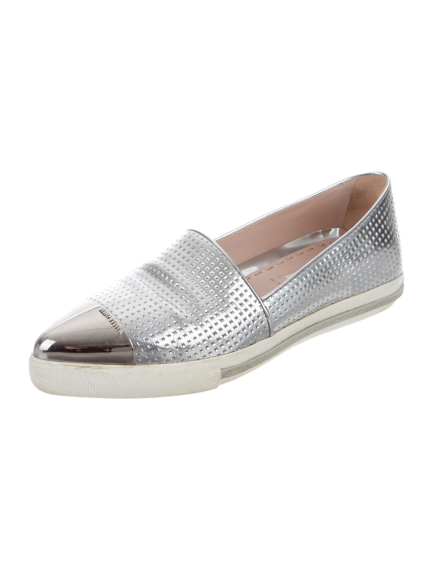 miu miu metallic slip on sneakers shoes miu47746 the