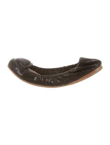 Miu Miu Embellished Round-Toe Flats None
