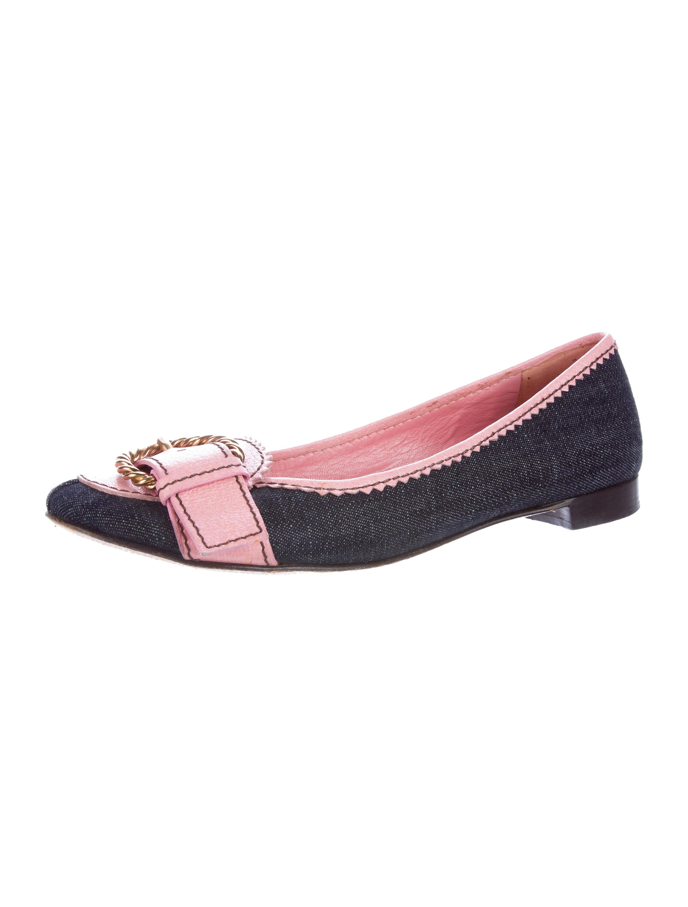 4b3df75338de Miu Miu Buckle-Embellished Denim Flats - Shoes - MIU48572