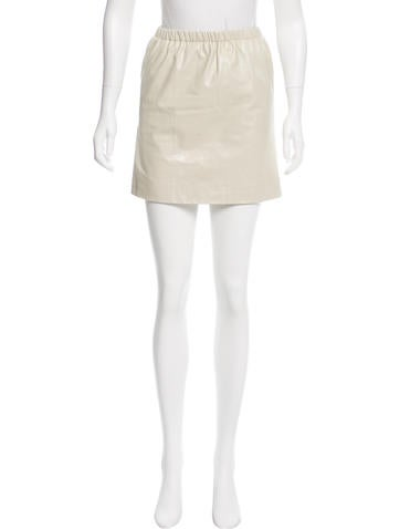 Miu Miu Leather Mini Skirt None