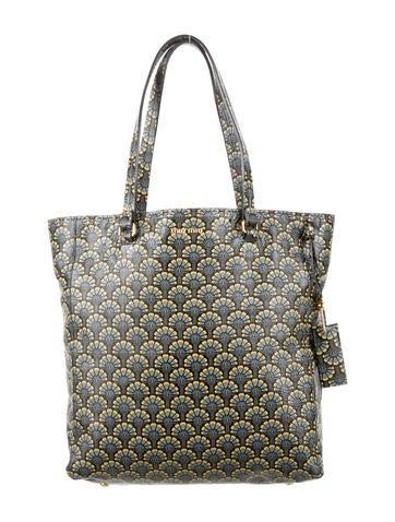 miu miu madras printed shopping tote handbags miu48869 the realreal. Black Bedroom Furniture Sets. Home Design Ideas
