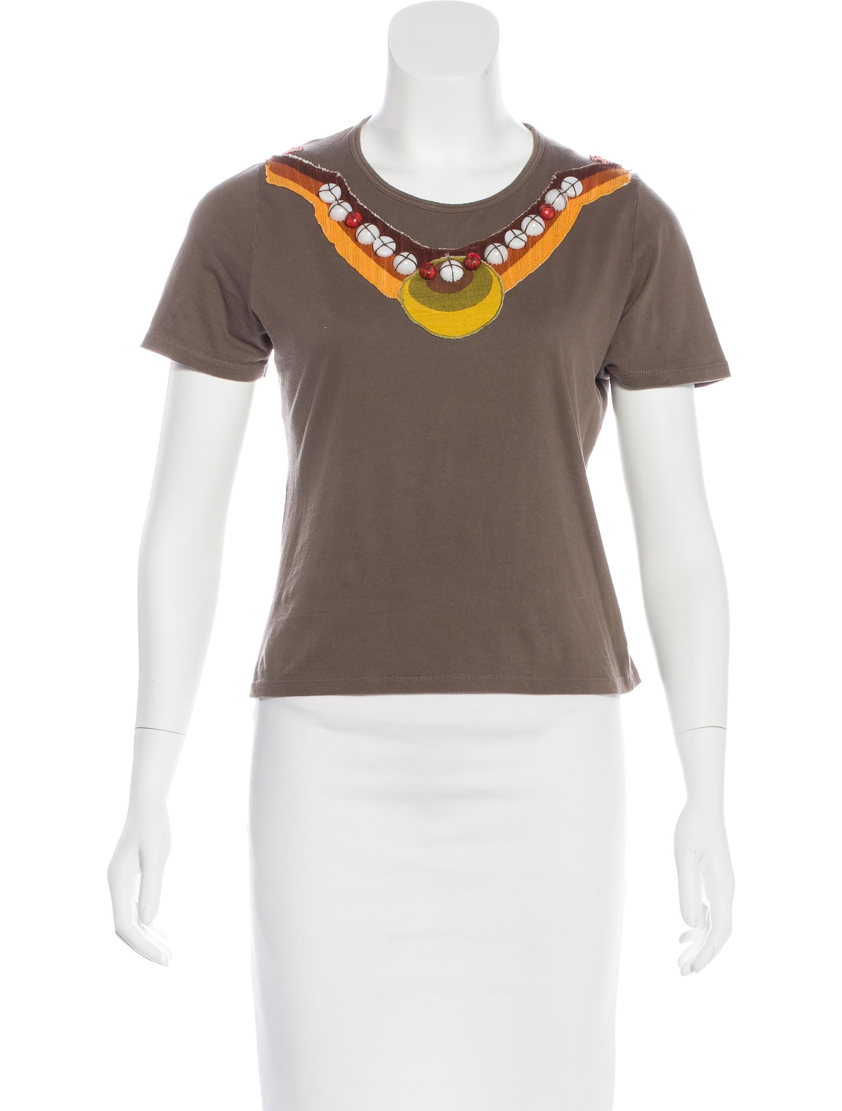 Miu miu embellished t shirt clothing miu48947 the for Women s embellished t shirts