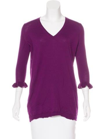 Miu Miu Wool Ruffle-Accented Sweater None