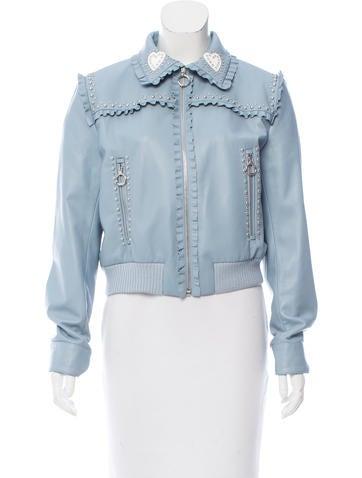 Miu Miu 2017 Embellished Leather Jacket None