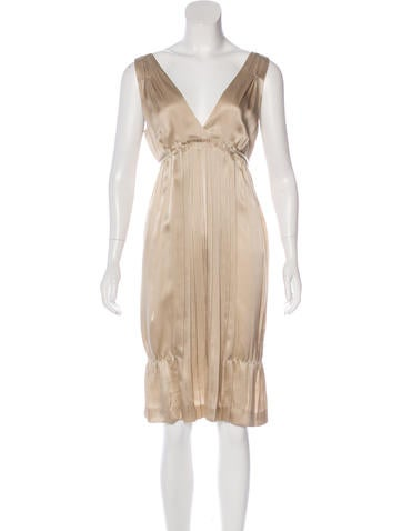 Miu Miu Pleated Silk Dress None