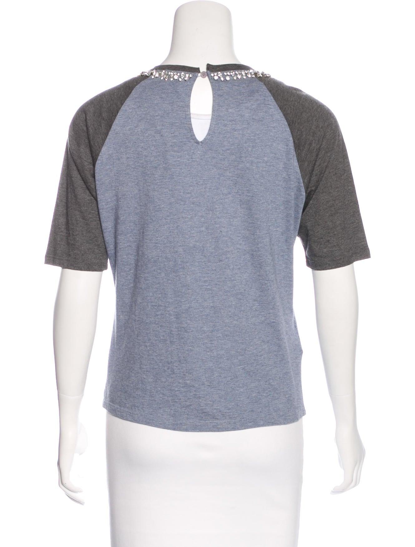 Miu miu crystal embellished t shirt clothing miu50310 for Miu miu t shirt
