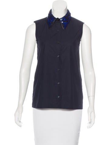 Miu Miu Embellished Sleeveless Top None