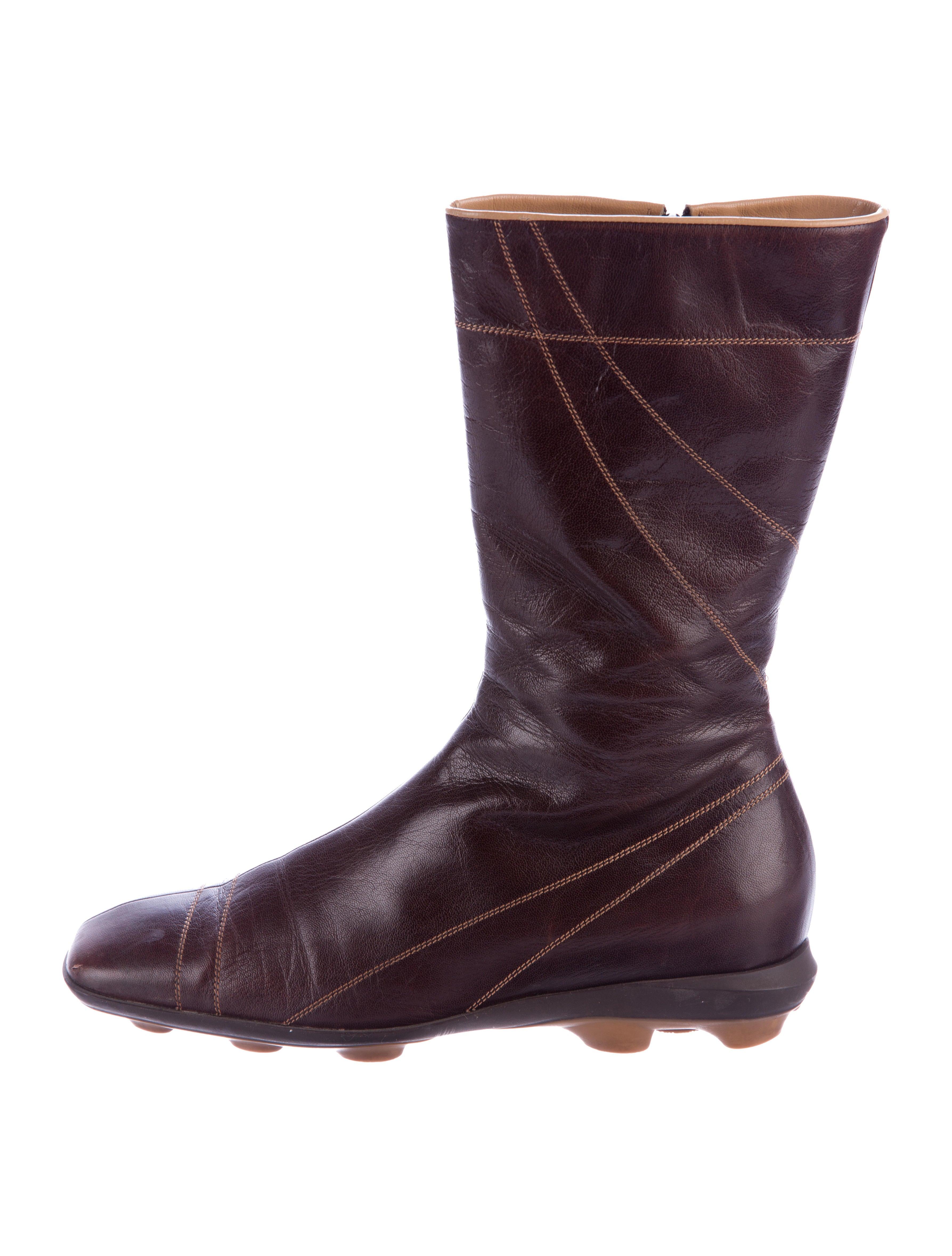 miu miu leather mid calf boots shoes miu50390 the