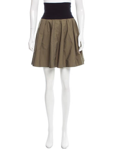 Miu Miu Contrasted Pleated Skirt None