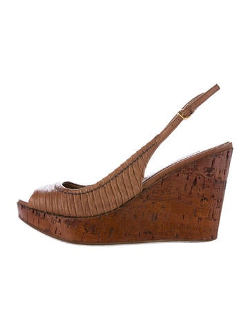 Miu Miu Leather Pleated Wedges None